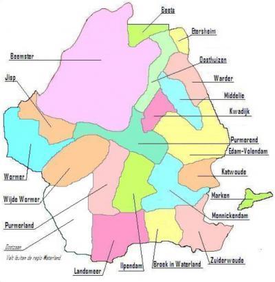 Kaart van het werkgebied van het Waterlands Archief. Ook het Waterlandse deel van Amsterdam-Noord hoort nog bij de streek Waterland, wat hier net niet op staat (= Z van Broek in Waterland). Op de kaart hieronder zie je dát deel. © www.waterlandsarchief.nl