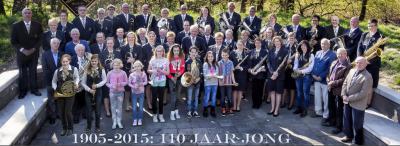 Fanfare Nooit Gedacht uit Wellerlooi heeft in 2015 gevierd dat ze 110 jaar jong waren, en is met ca. 40 spelende leden nog altijd springlevend. (© www.fanfarenooitgedacht.nl)