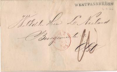 West-Pannerden, brief van West-Pannerden naar Olst, 4-2-1866, met stempel Westpannerden. Kennelijk had het bestelhuis inmiddels wél een stempel bekomen, wat het in 1863 blijkbaar nog niet had.
