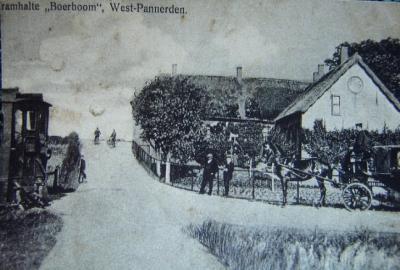 West-Pannerden, tramhalte Boerboom, op de Sterreschans, van de in 1909 van start gegane tramlijn Bemmel-Pannerden Veer van de Betuwsche Stoomtramweg-Maatschappij (BSM). Gezien de 'look and feel' van de kaart moet deze van kort na de opening zijn.