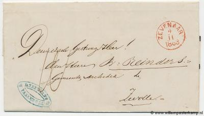 West-Pannerden, voorzijde behorende bij de hierboven afgebeelde achterzijde van de vouwbrief d.d. 4-11-1863