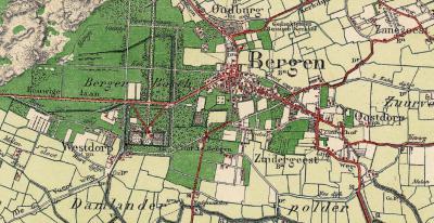De oude, oorspronkelijke buurtschap Westdorp omvatte slechts ca. 20 huizen en lag direct W en ZW van landgoed het Hof te Bergen. Op deze kaart uit ca. 1900 is dat goed te zien. Later is er bijgebouwd aan en rond de Eeuwigelaan, Buerweg en het Wiertdijkje.
