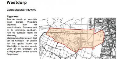 Actuele kaart van buurtschap Westdorp (bron: Welstandsnota gemeente Bergen, 2004)