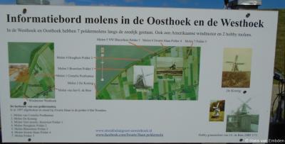 In de buurtschappen Westhoek en Oosthoek hebben nogal wat molens gestaan. Op dit informatiepaneel ter plekke wordt dat toegelicht.