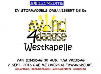 Na al dat zomerse gefeest in Westkapelle moet er natuurlijk wel weer even aan de conditie worden gewerkt. Dat kan tijdens de Avond4daagse (eind augustus / begin september).