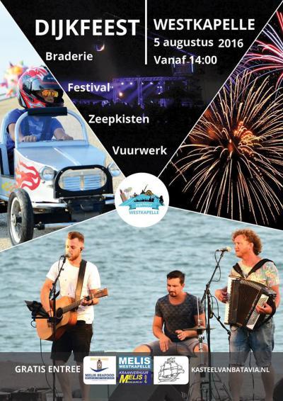 Het Dijkfeest in Westkapelle (begin augustus) is een combinatie van zeepkistenraces en een muziekfestival met DJ's, livebands en een vuurwerkshow. De toegang is gratis.