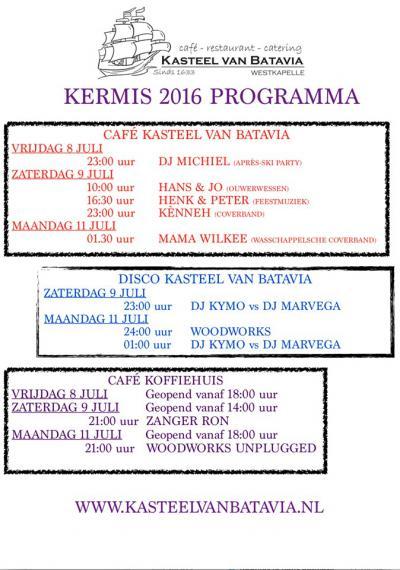 De kermis is een tradítie die ook in Westkapelle in ere wordt gehouden. Het is hét evenement van het jaar, met een tiental attracties, dj's, veel livemuziek en gaaischieten op zaterdag.