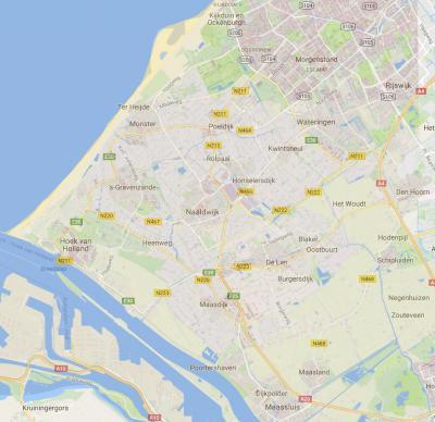 De streek Westland loopt van Kijkduin en Loosduinen in het N, tot Hoek van Holland in het ZW, Maassluis in het ZO, en Den Hoorn en Schipluiden in het O. (© Google)