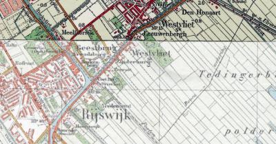 Buurtschap Westvliet viel t/m 1937 grotendeels onder de gemeente Stompwijk (en deels onder de gemeente Rijswijk). Vandaar de aanduiding 'Sk' (= afkorting van de gemeentenaam Stompwijk) onder de plaatsnaam op deze kaart uit ca. 1930. (© www.kadaster.nl)