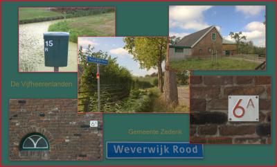 Weverwijk is aan beide kanten doorlopend gehuisnummerd. Om de nummers te kunnen onderscheiden, zijn ze aan de Meerkerkse kant 'rood' genoemd en gekleurd. Hier zie je hoe men dat oplost op de straatnaambordjes, brievenbussen en huisnummerbordjes.