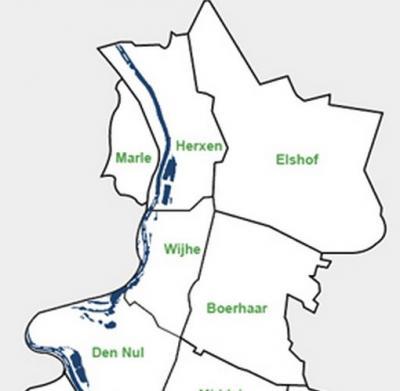 Het grondgebied van de voormalige gemeente Wijhe is tegenwoordig verdeeld in de dorpen Wijhe en Boerhaar in het Z, en de buurtschappen Elshof, Herxen en Marle in het N (Den Nul op de kaart valt onder het Z buurdorp Olst). (© gemeente Olst-Wijhe)