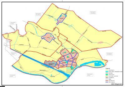 De gemeente Wijk bij Duurstede heeft haar grondgebied ingedeeld in CBS-wijken en -buurten. Hoe dat inhoudelijk in elkaar zit, kun je lezen onder Status. Hier zie je deze gevisualiseerd. (© gemeente Wijk bij Duurstede)