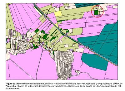 Uitsnede uit de kadastrale minuut uit ca. 1830 van Appelscha. Op deze kaart staat een drietal panden ingetekend in het gebied van Willemstad, wat suggereert dat de nederzetting toen nog in ontwikkeling was. (bron: Beheersverordening Appelscha)