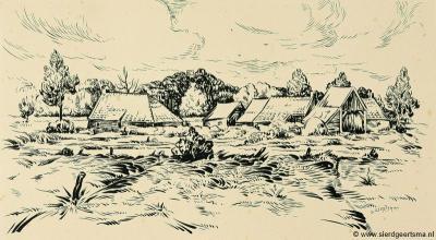 Tekening (pen, penseel in Oost-Indische inkt, 23,2 x 41,8 cm) van de buurtschap Willemstad bij Appelscha, door kunstschilder Sierd Geertsma (1896-1985). Voor nadere informatie over Geertsma zie de pagina Appelscha.