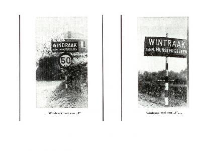 De gemeente Munstergeleen, die heeft bestaan t/m 1981, kon kennelijk niet kiezen uit de spellingen en vermeldde beide in de praktijk gebruikte spellingen van Windraak, met d en t, op de plaatsnaamborden. (© Averst69 op www.slideshare.net)