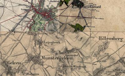 Hoeve Watersleyhof (op deze kaart te zien) en Huis Watersley liggen direct N van buurtschap Windraak. Daarom hebben wij ze ook beschreven op de pagina van Windraak. Formeel liggen ze echter nog net in het Z puntje van het stadsgebied van Sittard.