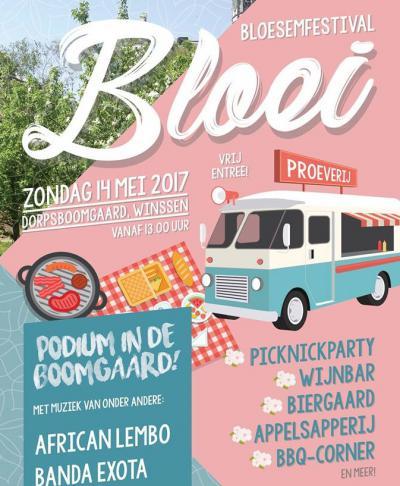 Op Moederdag 2017 was er in Winssen voor het eerst Bloesemfestival Bloei. Een mooie dag vol sfeer, smaken, muziek en gezelligheid, voor alle leeftijden, met o.a. Picknickparty, Wijnbar, Biergaard, Appelsapperij, BBQ-Corner en meer.