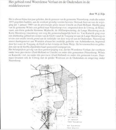 W.J. Eijs zet hier mooi in tekst en beeld op een rijtje hoe de bijna Baarle-Nassau-achtige situatie in Woerdense Verlaat d.m.v. de grenscorrecties van 1989 is opgelost. Het complete artikel hebben wij gelinkt nabij het eind van het hoofdstuk Geschiedenis.