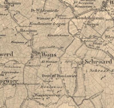 Het dorpsgebied van Wons e.o. op een kaart uit ca. 1900. (© www.kadaster.nl)