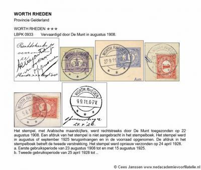 De buurtschap Worth-Rheden heeft van 1874 tot 1945 een postkantoortje gehad. Hier enkele afdrukken van een van de gebruikte stempels (het typenrader langebalkstempel).