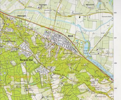De grens Nederland-Duitsland bij Beek en Berg en Dal na 1963. De Wylerbergstrook, plus het Wylerbergmeer, zijn Nederlands gebleven. Het is het enige gebied dat, afgezien van nog wat marginale stukjes weiland, in 1963 niet aan Duitsland is teruggegeven.