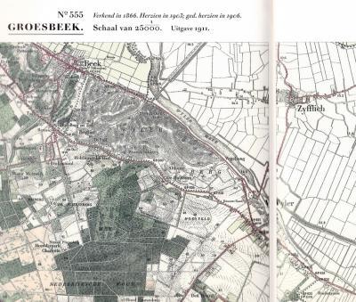 De grens Nederland-Duitsland bij Beek en Berg en Dal vóór 1949. Zie de lijn met + tekens en de genummerde grenspalen (gp...). De hele strook Wylerberg tussen Rijksstraatweg en Oude Kleefsebaan, plus het Wylerbergmeer, was dus toen nog Duits grondgebied.