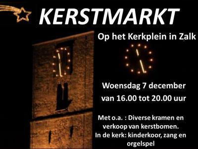 Op een woensdag begin december is er in Zalk de jaarlijkse Kerstmarkt. Onder de sfeervolle klanken van live kerstmuziek kun je langs de gezellige kraampjes slenteren. Ook aan de inwendige mens wordt gedacht, met verkoop van onder meer oliebollen en snert.