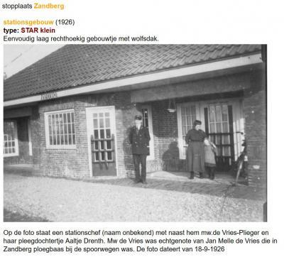 Van 1924 tot 1935 was er de spoorlijn Stadskanaal-Ter Apel Rijksgrens (STAR). In Zandberg was er een stopplaats. Het stationsgebouw (Kerklaan 31) uit 1924 bestaat nog. (© www.stationsweb.nl)