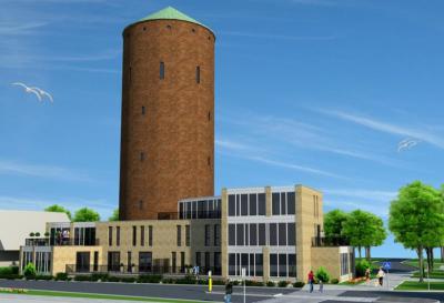 Na ca. 20 jaar leegstand is de markante, beeldbepalende watertoren van Zevenbergen verbouwd en herbestemd tot appartementencomplex met vijf luxe en zeer ruime appartementen in de toren, en ook nog een aantal ertegenaan. (© www.bonmakelaardij.nl)
