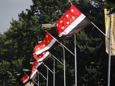 Zeven dorpsvlaggen met zeven sterren in Zevenhuizen (de 7 sterren staan symbool voor de 7 huizen waar het in de 17e eeuw allemaal mee begon) aan de Evertswijk, tijdens Feestweek 2019. (© Harry Perton / https://groninganus.wordpress.com)