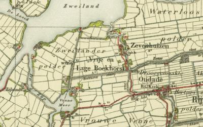 Kaart van ca. 1910, waarop W van Oud Ade en Zevenhuizen de voormalige gemeente Vrije en Lage Boekhorst, nu als kennelijke buurtschap, nog wordt vermeld. Pas rond 1950, 100 jaar na de opheffing van de gemeente, verdwijnt de naam van de kaarten. (©Kadaster)