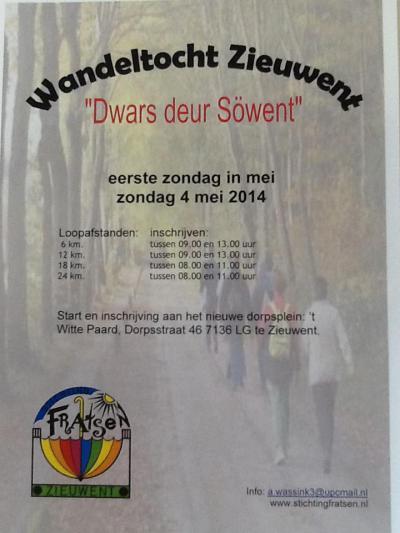 Zieuwent bruist van de verenigingen, stichtingen en vrijwilligers die regelmatig van alles organiseren om leven te houden in de Zieuwentse brouwerij. Zo organiseert Stichting Fratsen op de 1e zondag van mei de wandeltocht 'Dwars deur Söwent'.