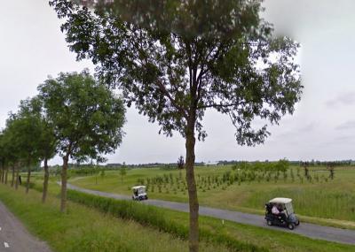 Als argeloze voorbijganger zou je je kunnen afvragen wat dat voor karretjes zijn op de parallelweg in de buurtschap Zittend. Welnu, dat zijn golfkarretjes van de Golfbaan Westwoud die hier rond 2000 is aangelegd. (© Google)