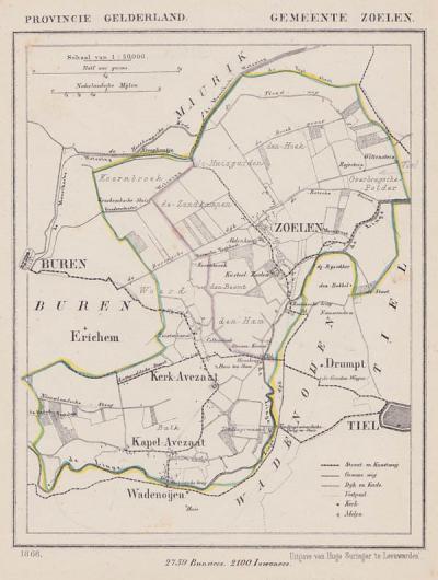 Gemeente Zoelen anno ca. 1870, kaart J. Kuijper
