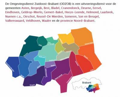 De Omgevingsdienst Zuidoost-Brabant (ODZOB) heeft een mooie kaart gemaakt waar je in tekst en beeld duidelijk ziet welke gemeenten deelnemen in het samenwerkingsverband Zuidoost-Brabant én waar ze liggen. (© www.odzob.nl)