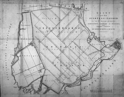 Kaart uit 1850 van de op dat moment nog maar net (1840) tot Zuidplaspolder drooggelegde Zuidplas. De naam van de gelijknamige gemeente lag voor de hand, want alle vier de dorpen van deze gemeente liggen aan, en deels in, deze polder.