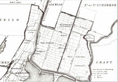 Op de gemeentekaart van Akersloot, uit 1865, is o.a. te zien dat Zuidschermer toen ook 't Zwarte Kerkje werd genoemd, dat er op dat grondgebied ook nog een West-Schermer en een Oost-Schermer was, en in het ZO een vlotbrug in het Noordhollands Kanaal.