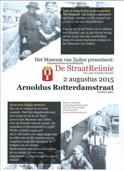 Een van de vele iniatieven van het Museum van Zuilen om leven in de Zuilense brouwerij te houden, is het organiseren van een maandelijkse straatreünie voor bewoners en oud-bewoners. Anno 2015 zijn het er al 60 geweest!