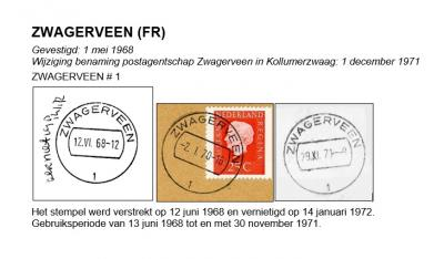In 1968 krijgt Zwagerveen een postkantoortje. Dit stempel is maar kort gebruikt en zeer schaars. Per 1-12-1971 wijzigt de plaatsnaam en daarmee ook de plaatsnaam van het stempel immers in Kollumerzwaag. (© http://poststempels.nedacademievoorfilatelie.nl)