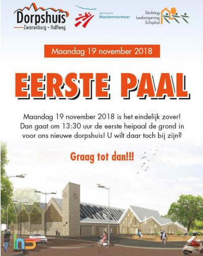 In 2013 is er al geld beschikbaar gesteld voor de herinrichting van het dorpshart van Zwanenburg. Door procedurele perikelen heeft het 'even' geduurd, maar op 19-11-2018 kon dan gestart worden met de bouw van het nieuwe dorpshuis. In 2020 komt het gereed.