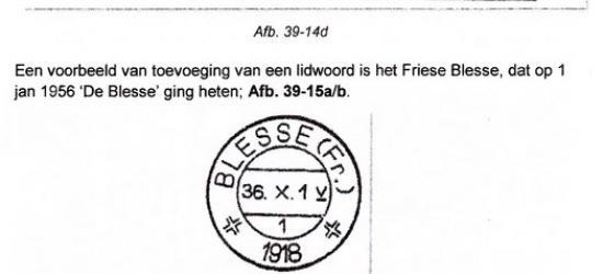 De naam van het dorp De Blesse werd vóór 1956 gespeld als Blesse