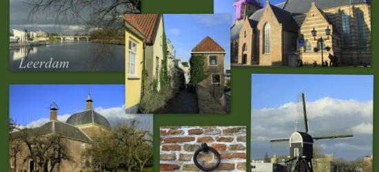 Leerdam, met enkele lokale 'beroemdheden' bijeen op 1 'ansichtkaart': de Lingebrug, de Zuidwal, de Hervormde kerk, het Hofje van mevrouw Van Aerden en de molen van Ter Leede.