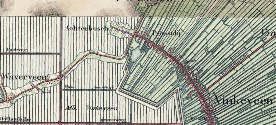 Op deze kaart, uit ca. 1880, zien we de buurtschap Achterbos nog duidelijk liggen als voormalig schiereiland in de kort ervoor drooggelegde polder die tegenwoordig Groot-Mijdrecht Noord heet. O ervan ligt de buurtschap Proostdij.