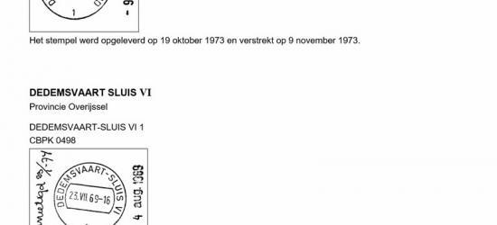 In 1969 krijgt Dedemsvaart-Sluis VI een cilinderbalkstempel, en in 1973 wordt de naam van het kantoor gewijzigd in Dedemsvaart-Rheezerend (reden: zie bij Geschiedenis) en krijgt het daarom weer een nieuw stempel. Het vorige is dus maar vier jaar gebruikt.