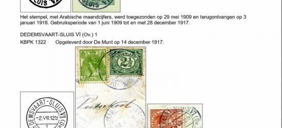 Het postkantoortje Dedemsvaart-Sluis VI heeft vier verschillende stempels gehad. In 1909 gaat het kantoor van start met een langebalkstempel, in 1917 opgevolgd door een kortebalkstempel.