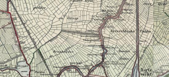 Op deze kaart uit ca. 1925 is goed te zien dat de bebouwing langs de weg en waterloop Gein voor het N deel onder de gemeente Weesperkarspel bekend stond als buurtschap Het Gein, en het Z deel onder de gemeente Abcoude als buurtschap Vinkenbuurt.