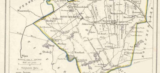 Gemeente Dantumadeel anno ca. 1870, kaart J. Kuijper (collectie www.atlasenkaart.nl)