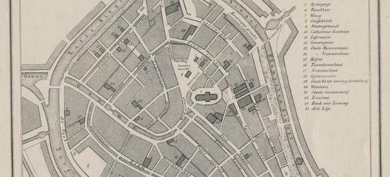 Stad Gouda anno ca. 1870, kaart J. Kuijper (collectie atlasenkaart.nl)