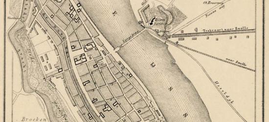 Stad Kampen anno ca. 1870, kaart J. Kuijper (collectie atlasenkaart.nl)