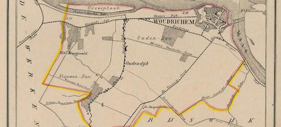 Gemeente Woudrichem anno ca. 1870, kaart J. Kuijper (collectie www.atlasenkaart.nl)
